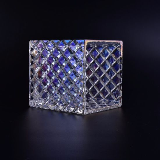 Square Glass Candle Holder Jar with Iridescent Finish pictures & photos