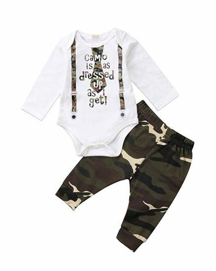 8bc66c552068c 3PCS Newborn Baby Clothes Boys Cute Letter Print Romper+Camouflage Pants+Hat  Children Clothes