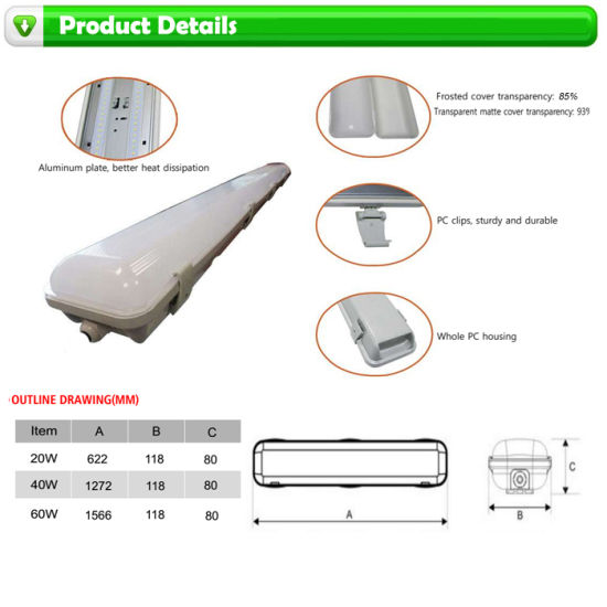 Clear Cover 60cm 20W Tri-Proof Linear LED Lamp with Good Price pictures & photos