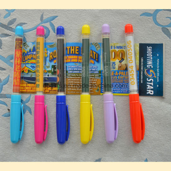Promotion Touch Screen Pen with Roll out Paper/Banner Pen pictures & photos