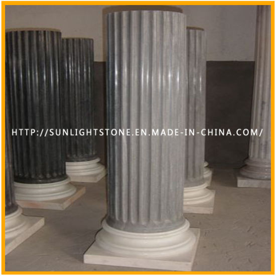 Carved Polished Yellow Marble Granite Stone Roman Solid Column pictures & photos