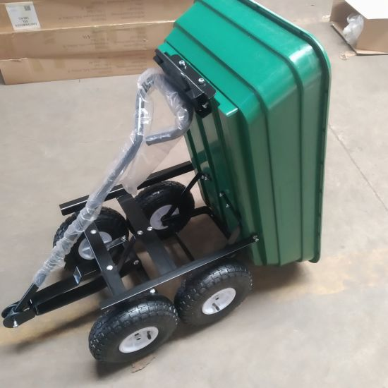 Heavy Duty Green Garden Cart with Tipping Barrow Trolley Tools Cart Tc2145