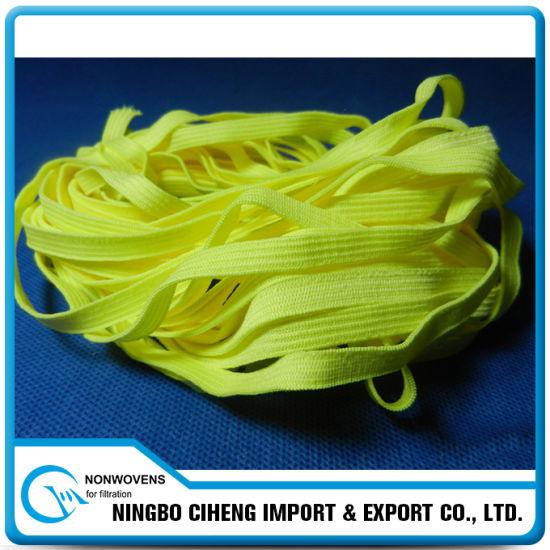 7mm Wide Yellow N95 Respirator Ear-Loop Colour Braided Elastic Band
