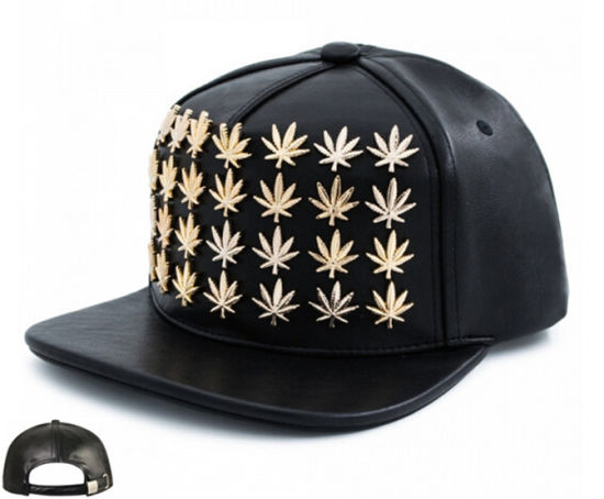 a428b1953e3 China 2016 Snapback in Gold Cannabis Studs Flag Leather - China Caps ...
