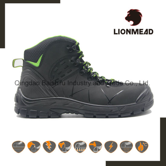 High Cut PU Sole Steel Toe Genuine Leather Waterproof Industrial Safety Shoes