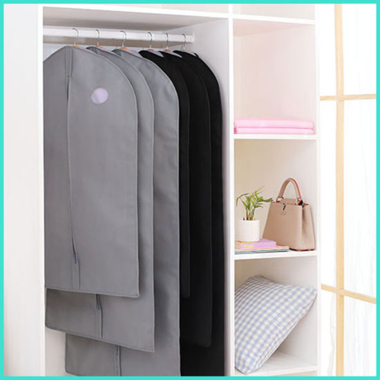 OEM Custom Customized Foldable Non Woven Non-Woven Suit Cover Storage Dustproof Garment Bags with Pocket and PVC Window