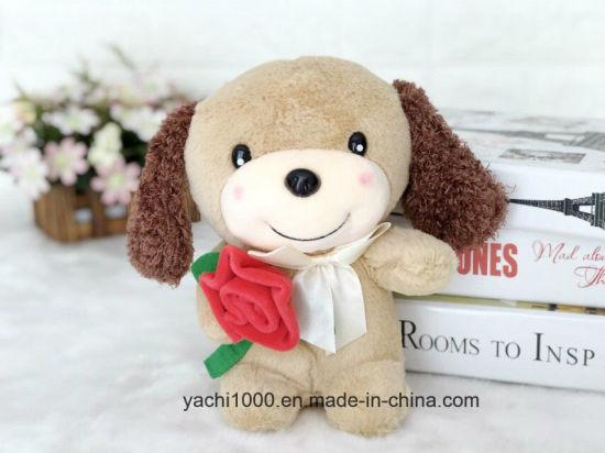 Wholesale Plush Animal Soft Toy Dog with Rose