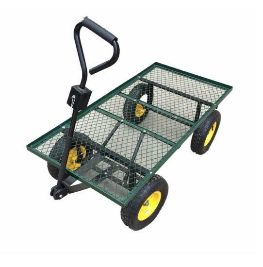 Platform Garden Steel Mesh Deck Wagon, Steel Utility Flat Garden Wagon