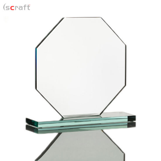 China Octagon Shape Trophy Jade Glass Custom Blank Glass