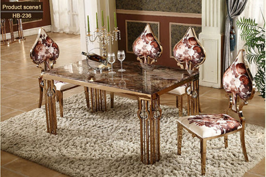 China Modern Steel Golden Dining Room Chairs / Mable Dining Table ...
