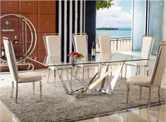 Hot Item 2018 European New Style Modern Metal Gl Dining Table Set And Pool Chair Fabric