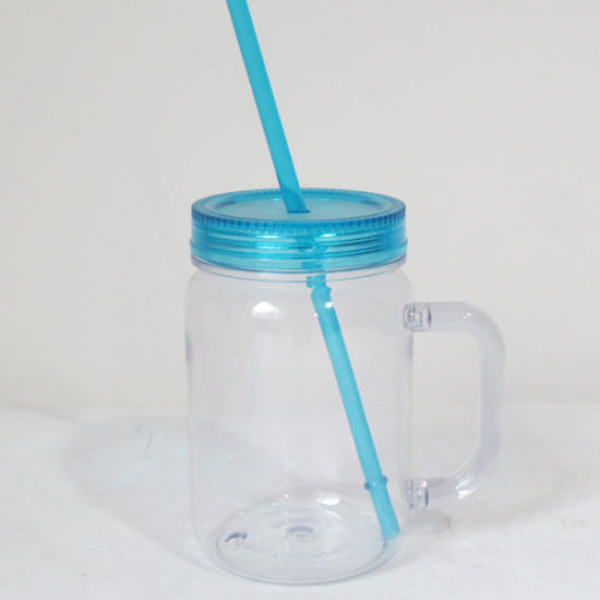f6703f882757 [Hot Item] 16oz Plastic Mason Jar with Straw Dn-102
