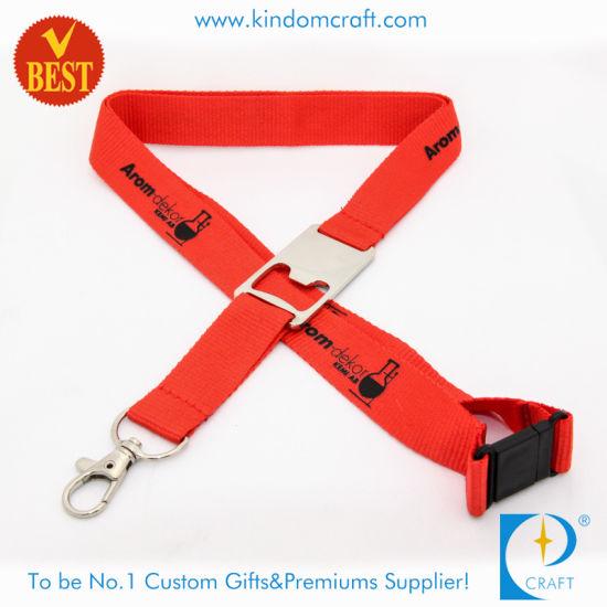 Custom Flat Polyester Printed Lanyard/Ribbon with Bottle Opener
