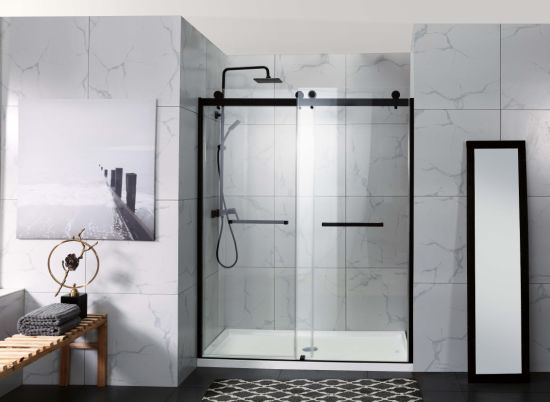 North American Elegant Matt Black Double Sliding Inline Bathroom Shower Enclosure