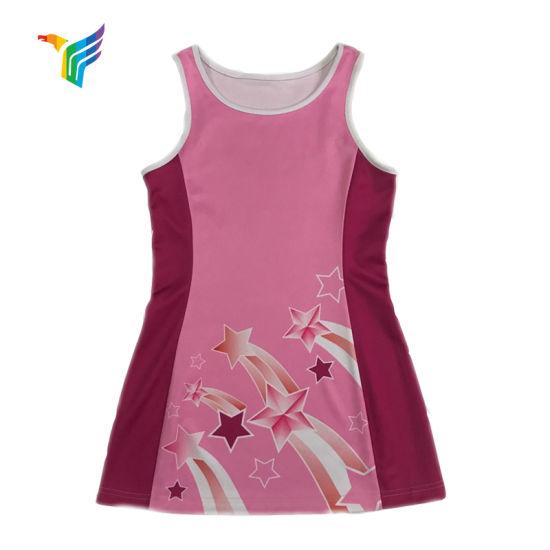 2019 Pink Color Sublimation Custom Design Netball Dresses Club Logo Uniforms