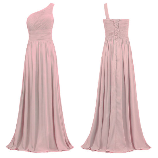 Women's One Shoulder Blush Bridesmaid Dresses Long Wedding Party Evening Prom Gowns E898