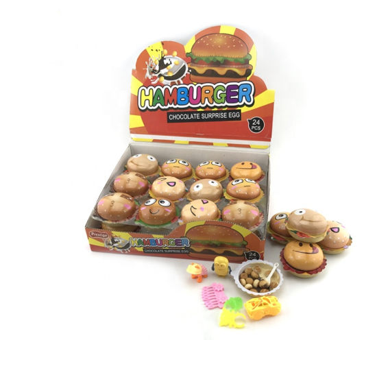 Halal Burger Shaped Chocolate Biscuit with Toy Candy