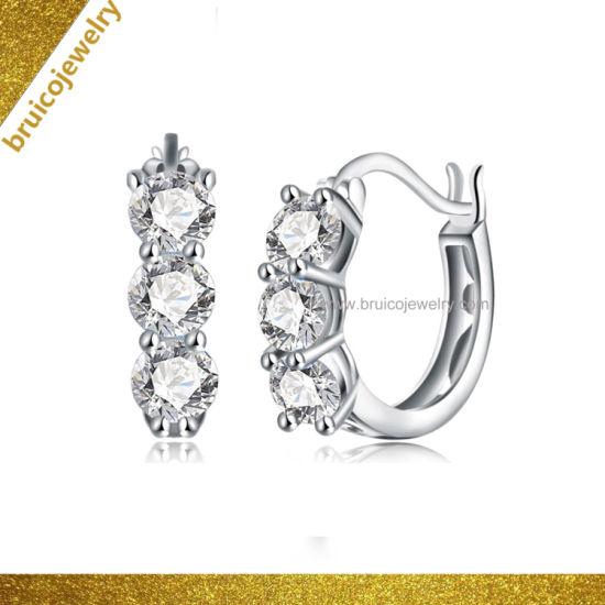 Wholesale Jewellery Hip Hop 925 Sterling Silver Jewelry Ear Hoop 18K 14K 9K  White Gold Color Hoop Earrings with Diamond
