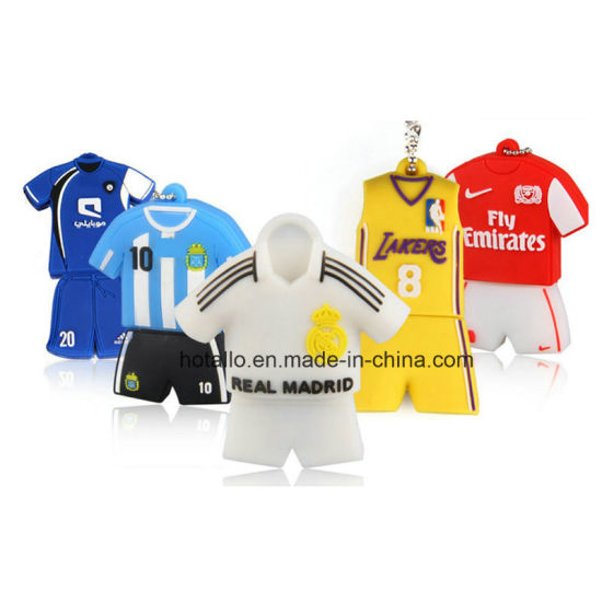 Custom Soft PVC World Cup Football Polo Shirt Shape Memory Stick Flash Drives pictures & photos