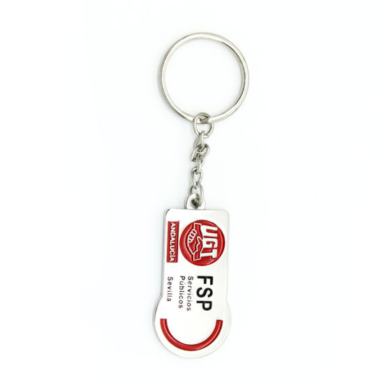 Promotion Enamel Metal Key Chain Football Frame Golden House in Ribbon pictures & photos