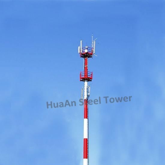 Hot Dip Galvanized Steel Single Pipe Telecom Monopole Pole