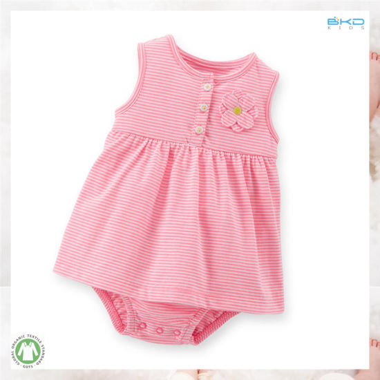 Stripe Printing Baby Clothes Sleeveless Infant Dress