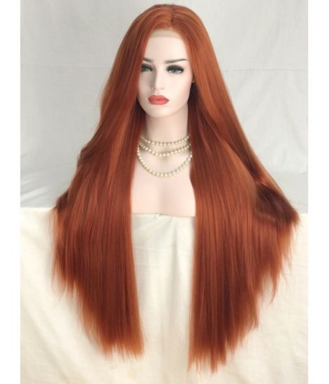 "30"" Lace Front Long Wig Synthetic Kanekalon Fiber Red Orange Silk Straight CIF Price to Europe and North America"