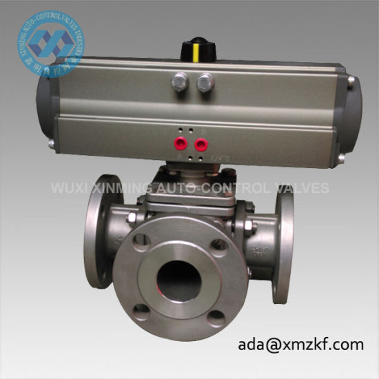 Three Way Pneumatic Actuator Ball Valve pictures & photos