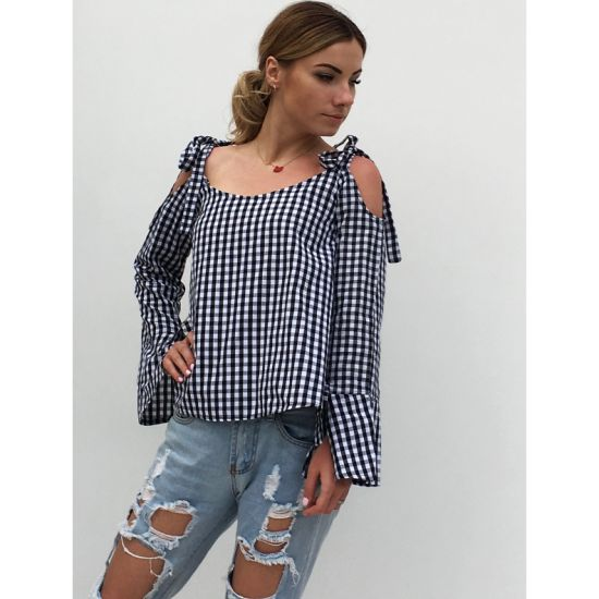 Long Sleeve Bow Cold Shoulder Plaid Shirt Women Top