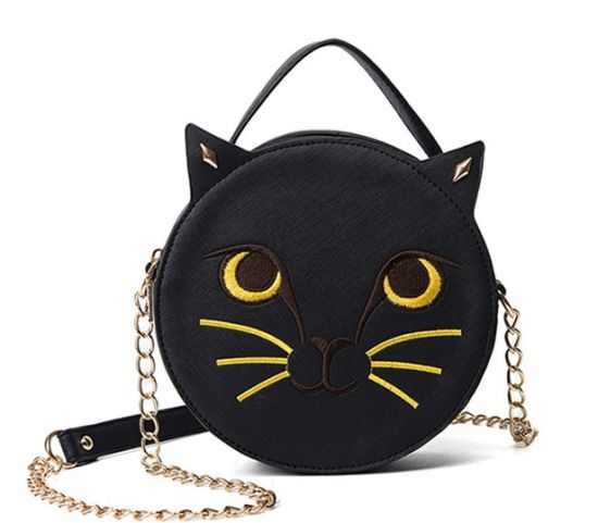 Embroidery Cat Face Shoulder Bag Circle Shape Handbags pictures & photos