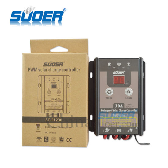 Suoer 12V 30A Intelligent PWM Waterproof Solar Controller (ST-F1230) pictures & photos