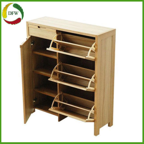 Double Layers Simple Large Mirror Assembly Wooden Shoe Rack Cabinet