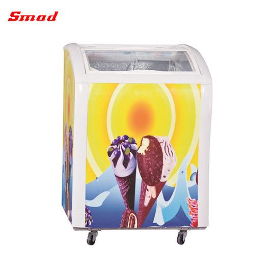 226L Commercial Supermarket Chest Freezer Ice Cream Glass Door Display Freezer