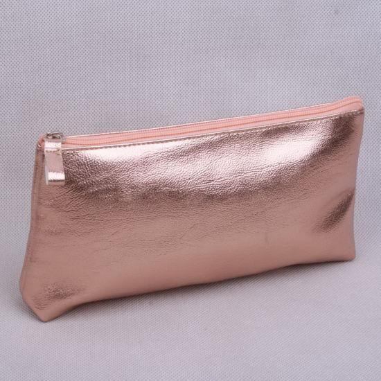Metallic Rose Gold PU T-Gusset Ladies' Cosmetic Bag/Makeup Pouch