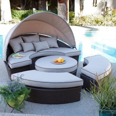 Exclusive Round Shape Garden Sunbed with Waterproof Back Pillows