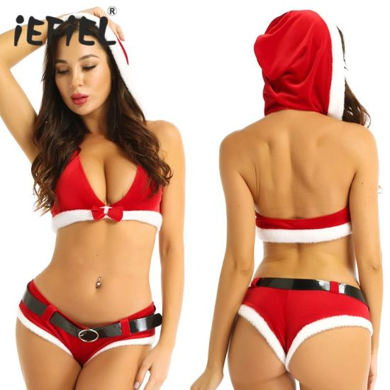 Women Sleeveless Hooded Tops Shorts Belt Santa Costume Christmas Fancy Sexy Lingerie