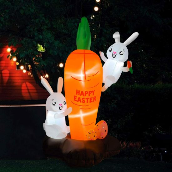 Happy Easter Inflatable Bunny Rabbit Carrot with LED Light Blow up Yard Decoration