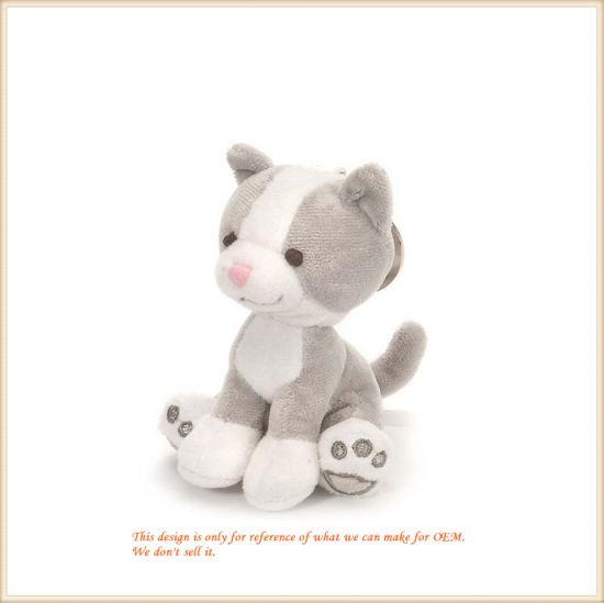 Plush Standing Grey Cat Animal Key Finder Customized