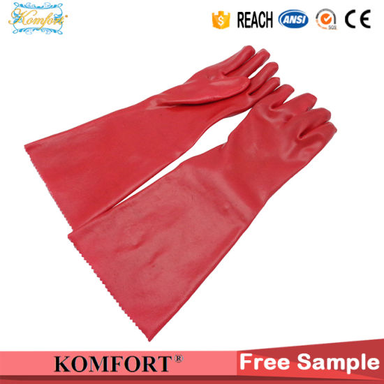 Long Sleeve PVC Labor Working Safety Glove (JMC-391F)