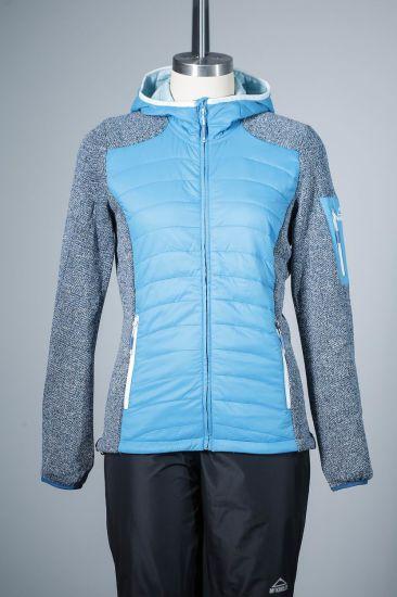 Women 100% Polyamide and 100% Polyester Hoodie Hybrid Jacket