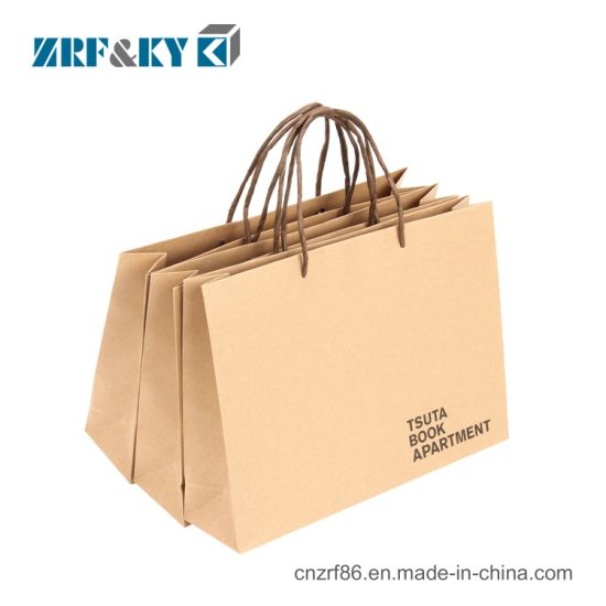 Customized Printed Packaging Flat Bottom Kraft Paper Shopping Gift Bag