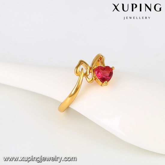 11444 Hot Sale 24k Gold Heart Design Fashion CZ Ring pictures & photos
