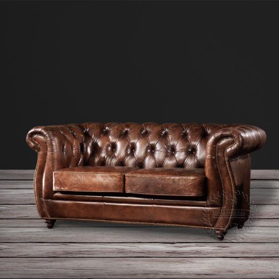 Vintage Luxury Leather Reception Sofa
