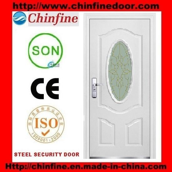 Chinese Simple Design Steel Security Front Door With Glass Cf 918