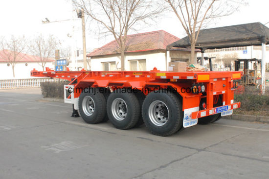Cimc Huajun 3axle High Tensile Steel Light-Type Skeleton Trailer with 40tons Capacity pictures & photos