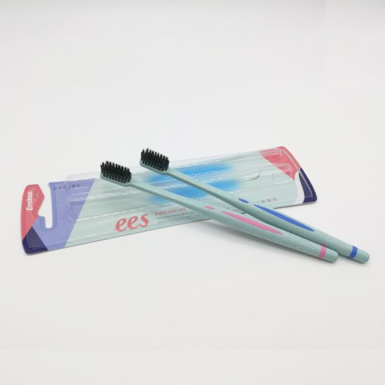 Eco-Friendly Biodegradable Wheat Straw Adult Toothbrush with Helix Bristles Pack 2 in 1 702 pictures & photos