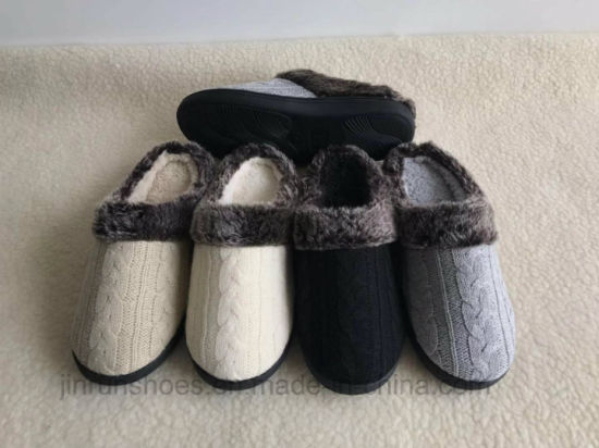 Ladies Cabel Knit Fur Slippers