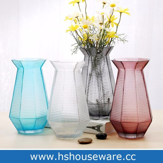 China Mouth Blown Octagonal Colored Glass Vase For Home Office