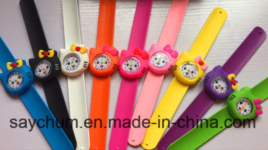 Candy Colors Hot Pink/Rose/Color Hello Kitty Slap Watch Girls Cartoon Kids Watch Silicone Rubber Wrist Watch pictures & photos