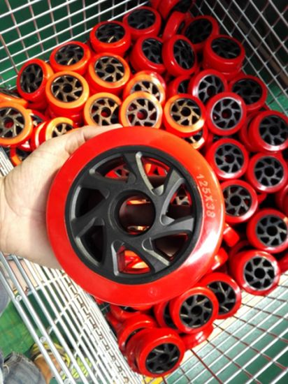 5 Inch Red PU Rigid Castor for Trolley Industrial PU Caster Wheel pictures & photos